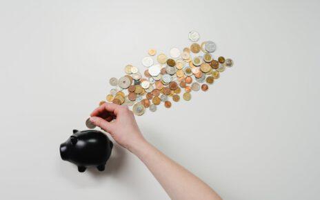 Skarbonka z pieniędzmi dorobionymi do kieszonkowego latem.