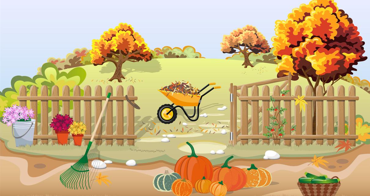 ogród jesienią pokazany na obrazku aminacyjnym